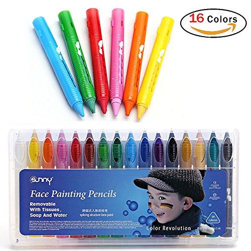 Pintura Facial, JER 16 Colores barras de maquillaje facial Lápices de Pintura de Cara pintura Corporal no tóxica Lápices de Colores para Cara y Cuerpo Painting (16 Pcs)