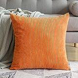 MIULEE Kordsamt Zierkissenbezug ohne Füllung-Zierkissenhülle Dekorative Kissenbezug Dekokissen Kissenhülle mit Verstecktem Reißverschluss 24x24 Zoll 60 x 60 cm Orange