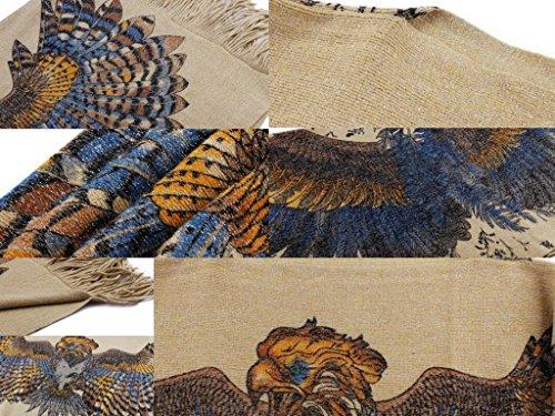 Bigood Femme Manteau Cape Bat Manches Longue Imprimé Animal Tops Avec Franges Aigle Jaune