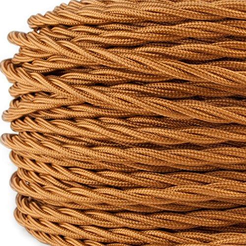 Preisvergleich Produktbild Textilkabel für Lampe, verseilt, dreiadrig, 3x0,75mm², Whiskey - hellbraun - 50 Meter Rolle