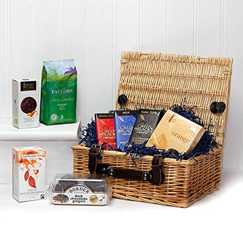 Luxury Tea, Coffee and Biscuits Hamper Presented in a Wicker Gift Basket - Gift Ideas for Valentines, Mother's Day, Birthday, Anniversary, Business, Corporate, Christmas