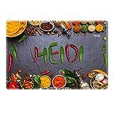 Tischset mit Namen ''Heidi'' Motiv Chili - Tischunterlage, Platzset, Platzdeckchen, Platzunterlage, Namenstischset