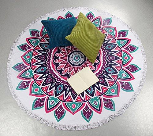 Winthome Mandala Asciugamano rotondo di spiaggia con nappe-asiugamano rotondo in microfibra super morbida - Design originale per il viaggio / campeggio / picnic-Diametro 60 '' (color 4)