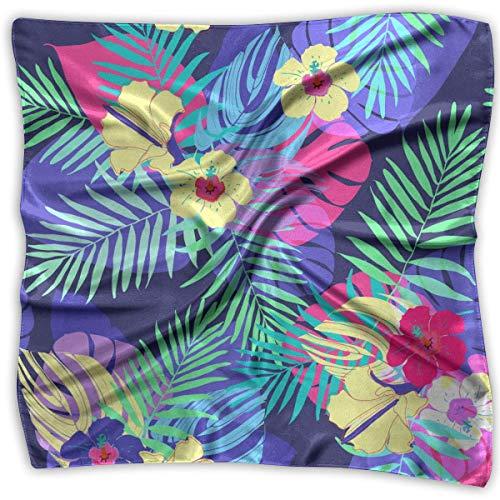 Damen Schal mit exotischen Blumen und Blättern, aus Chiffon, quadratisch, 100% Polyester (Zubehör In Den 1960er Jahren)