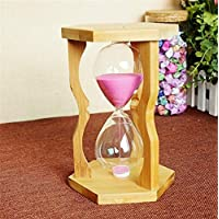 pengweila artesanía de bambú hexagonales temporizador de reloj de arena Ideas 15 minutos de regalo
