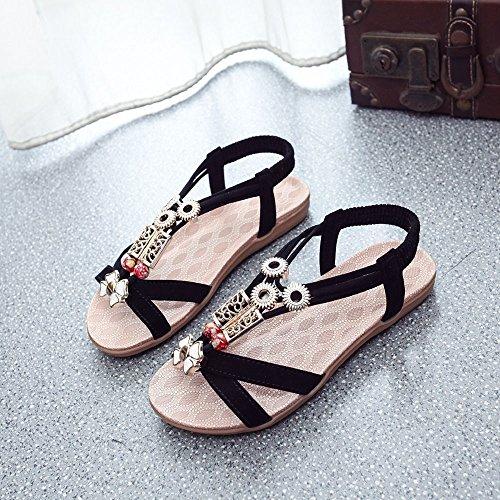 Longra Donne Rilievo piatto di Open Toe Sandals Nero