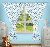 Luxus Deko Vorhänge für Baby-Raum passenden mit Unser Kindergarten Betten Sets (Big türkis Sterne auf weiß Hintergrund)