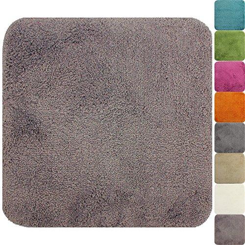 proheim Badematte 50 x 50 cm rutschfester WC-Vorleger Premium Badteppich 1200 g/m² weich & kuschelig Hochflor Duschvorleger, Farbe:Taupe