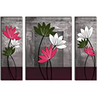 SAF UV Textured Flower Print Framed Painting Set of 3 for Home Decoration (Synthetic, 12 inch x 18 inch, Set of 3…