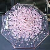 Compacto Plegable Paraguas de Cereza Transparente Paraguas Tres Plegables 8 Costilla Paraguas A Prueba de Viento Paraguas Lluvia de Mujeres