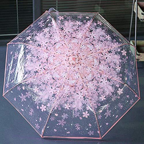 Compacto Plegable Paraguas Cereza Transparente Paraguas