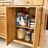 SoBuy® Luxus-Küchenwagen aus hochwertigem Bambus mit Edelstahlarbeitsplatte,Kücheninsel,Küchenschrank,B129xT46xH91cm FKW14-N - 7