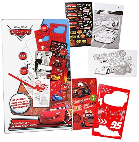 Unbekannt Malbuch / Malset -  Disney Cars / Lightning McQueen  mit Schablonen + Sticker / Aufkleber + Motiv Papierbögen - Malvorlagen zum Ausmalen Malspaß - für Junge..