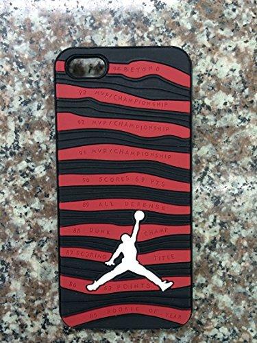 NEW Air Jordan Coque souple pour Apple iPhone 5/5C/5S/6& 6S Chaussures en caoutchouc Semelle gaufrée 3D cas, Caoutchouc, RED BLACK & WHITE, APPLE IPHONE 6.s