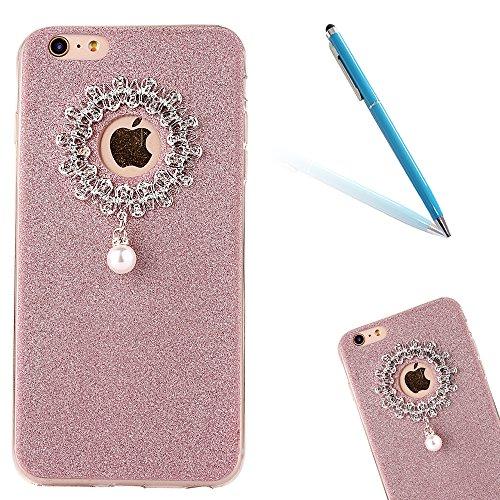 Clear Crystal Rubber Protettivo Case Skin per Apple iPhone 6/6s 4.7, CLTPY Moda Brillantini Glitter Sparkle Lustro Progettare Protezione Ultra Sottile Leggero Cover per iPhone 6,iPhone 6s + 1x Stilo  Rose Gold 1