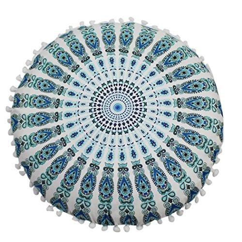 LuckyGirls Kissenbezug 43 x 43 cm Indische Mandala Boden Kissen runde böhmische Kissen Abdeckung (G)