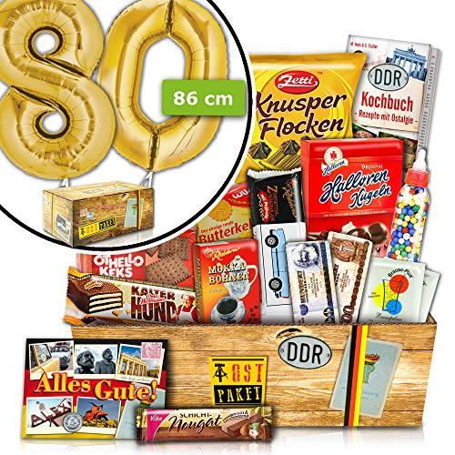 80. Geburtstag Geschenkideen - INKL. 80 FOLIENBALLON Gold - Geschenke DDR Süß