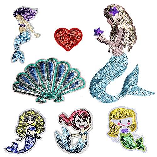 Bongles 1 Set Little Mermaid Pailletten Aufnäher Nähen Eisen Auf Stickapplikationen Craft Handmade Bekleidung DIY-Kostüm