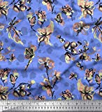 Soimoi Blau Satin Seide Stoff Schmetterling, Libelle &