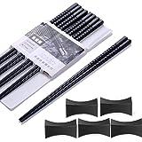 Haosell Eetstokjes 5 paar + 5 stuks eetstokjes Japanse chopsticks zwart Chinese stokjes Alloy Chopsticks staafjes voor Aziati