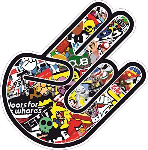 NetSpares 119476483 1 x Aufkleber Shocker Autoaufkleber Dub Sticker Tuning Fun Gag Hand Auto Scooter