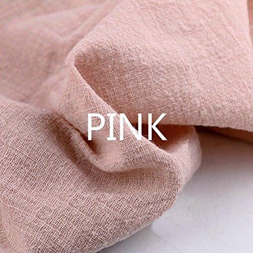 Youmu lino cotone tessuto materiale organico naturale puro lino cambric eco diy vestiti, 129,5x 99,1cm, pink, 1 meter/51