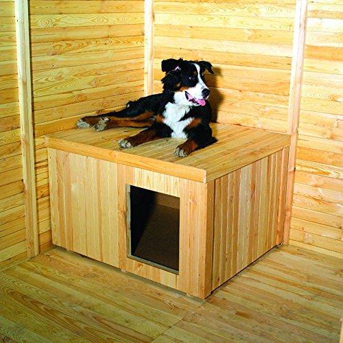 hundeinfo24.de Hundehütte für Zwinger Kiefernholz naturbelassen 30 mm wärmeisoliert