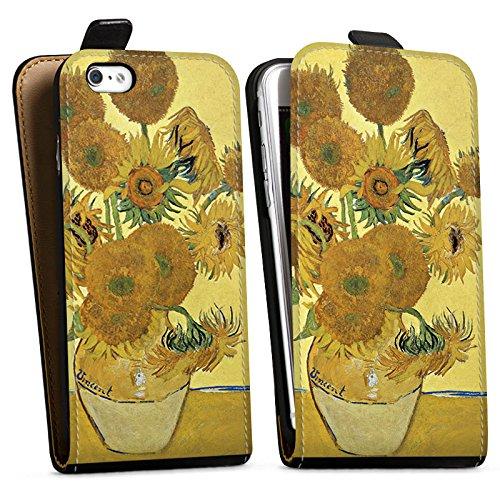 Apple iPhone 6s Hülle Case Handyhülle Vincent van Gogh Sonnenblumen Kunst Downflip Tasche schwarz