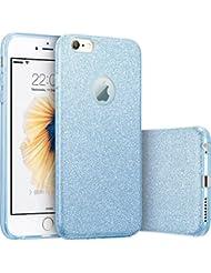 iPhone 7 4.7 Hülle JINCHANGWU Schutzhülle TPU + PC Kristall Glitzer Bumper Schale Handy Tasche Luxus Etui Shining Rückseite Kristall Bling Anti Staub Back Cover für iPhone 7 4.7 Blau