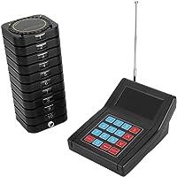 ASHATA Pager System Wireless Calling Queueing System,Professionell Kabellos Gästerufsystem Kundenrufsystem,1 Sender+10 Empfänger bequem Pager System für Restaurant Cafeteria Snack Bar usw.(Schwarz)