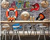 BHXINGMU Benutzerdefinierte Wandbilder Mode Musik Bar Ktv Gitarre Steinwand Fliese Stil Dekoration 300Cm(H)×450Cm(W)