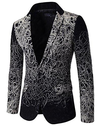 Giacca Uomo Elegante Maniche lunghe Casual Caloroso Blazer Imformale Cappotto Nero