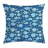DDOBY Funda de cojín Ocean Throw Pillow, Imagen Sealife Marine Navy con Imagen de Arte de Tropic Fish Moss Leaves, Funda de Almohada Decorativa con Detalles Decorativos, Azul añil Azul Real