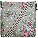 Miss Lulu Damen Schultertasche Canvas Blumen-Punkte L1104F (Grau Blumen-Punkte)