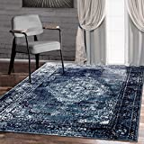 A2Z Rug Vintage Traditional Santorini Collection Navy Blue 160x230 cm - 5.5x7.5 ft Area Rugs