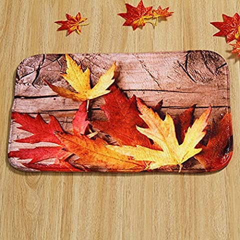 Lugii Cube 40cmx60cm Feuille d'érable Porte Tapis de sol Pad rectangulaire Tapis Moquette Fall Scène doux