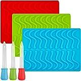 Gummy Worm stampi in silicone con 3contagocce, Senhai stampi, confezione da 3cubetti di ghiaccio per gelatina torta al cioc