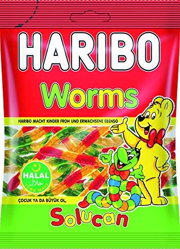 Haribo Worms / Solucan, Helal / Halal, Gummibärchen, Weingummi, Fruchtgummi, 100g
