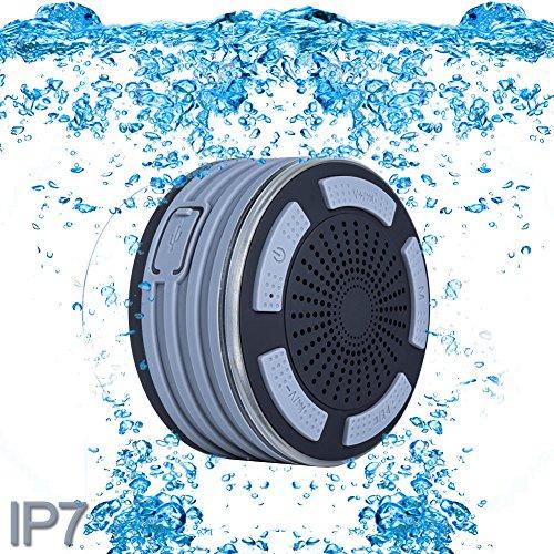 ParaCity Dusch-Lautsprecher, wasserdicht IP67,tragbares kabelloses Design mit Bluetooth 4.0,Lautsprecher mit Super Bass HD-Sound und LED-Licht, für Pool / Strand / Bad / Boot / Sauna / Spa grau