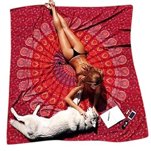 Teli mare , ouneed® telo rotondo con mandala, in stile hippy, utilizzabile come copriletto, arazzo decorativo, tovaglia, telo da mare, pannello decorativo, tappeto per yoga, diam. (rosso scuro)