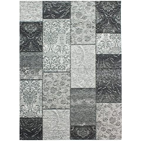 Flair Rugs Manhattan chenilla Patchwork Tapiz Estilo Alfombra, Chenilla, negro/gris, 120 x 170 cm