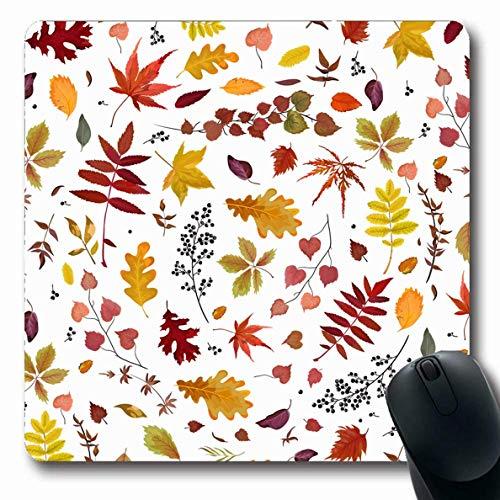 Luancrop Mauspads für Computer Garten Braun Herbst Herbst Muster Blumen Aquarell Blatt Natur Ernte Eiche Birke Botanisch Hell rutschfest Längliche Gaming-Mausunterlage -