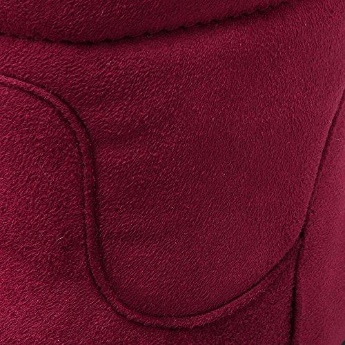 VogueZone009 Donna Tacco Basso Chiodato Punta Tonda Tirare Stivali Chiaretto