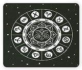 Alfombrilla para ratón Zodiac, estilo mandala, con diseño de horóscopo y signos del zodiaco con fondo celestal, tamaño estándar, rectangular, antideslizante, de goma, color gris y blanco