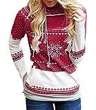 Tomwell Damen Weihnachten Hoodie Schnee Kapuzenpullover Weihnachten Langarm Kapuzenshirt Lässig Sweatshirt Pullover Bluse Rot DE 38