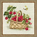 Riolis 1448 Himbeeren in einem Korb Kreuzstichpackung, Baumwolle, mehrfarbig, 30 x 0,1 cm