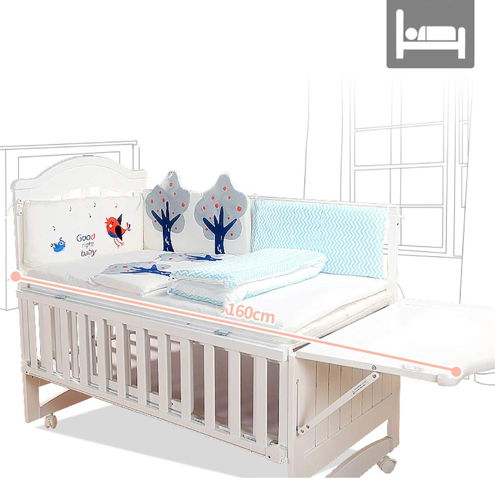 VBARV Solid Wood Crib, Multi-function Cradle Bed, Children's Splicing Bed, Portable Folding Bed, Suitable for Infants 0-8 Months Cute Nest VBARV The multifunctional bassinet design is suitable for use as a standalone crib, or as a co sleeper crib. Interchangeable modes allow either a stable or rocking mode at the touch of a button CONVERTIBLE: Simply pull up the side rail and use the cot as a stand-alone bed or bassinet during the day. Four lockable wheels make it easy for you to move from one room to another having your newborn always on your side. Modern travel crib in easily foldable,Mosquito net to protect your little one against insects, pets etc 2