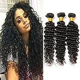 Brazilian Hair Perruque Naturelle 8a Meches Deep Wave 3 Bundles Tissage Bresilien Boucle Virgin Remy Human Hair Extension Weft (18 20 22 Inches)