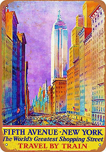 Wise Degree New York Fifth Avenue Travel by Train Home Metall Poster Wand Küche Kunst Cafe Garage Shop Bar Dekoration