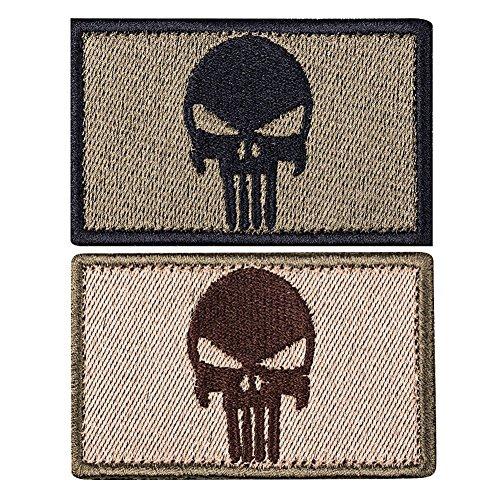 SMAGREHO 2 x taktisches Klett Patch militärischer Abzeichen, Punisher Totenkopf, mit Stickerei und Klettband für Airsoft Paintball Lasergame